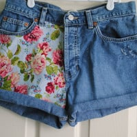 High Waisted Floral Vintage Denim Shorts