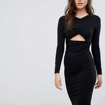 ASOS Crepe Wrap Front Peekaboo Midi Bodycon Dress at asos.com