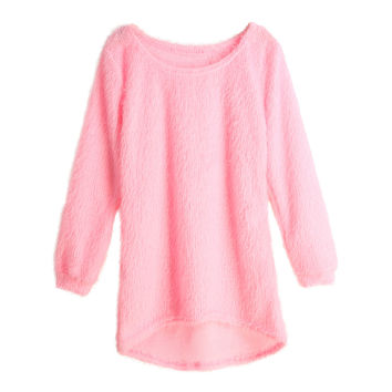 Women Fluffy Knitted Sweater O-Neck Dip Hem Pull Long Sleeve Ladies Loose Tricot Casual Warm Mohair Pullover SM6