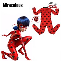 Ladybug Girl Costume Miraculous Kids Marinette Cartoon Cosplay Second Skin Halloween Party costumes Suit