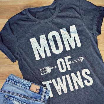 Mom of Twins Arrow Printed Short Sleeves T shirt