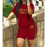 GUCCI Summer Classic Women Casual Print Short Sleeve Top Shorts Sport Two-Piece Set Red
