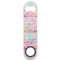 White Tribal Abstract Aztec Neon Rainbow Splatters Bar Key