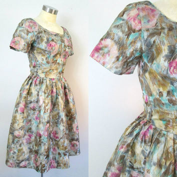 Gold Lame Rockabilly Dress // 1950s 1960s Cocktail Party