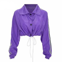 Cropped Purple Drawstring Jacket