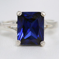 Blue Sapphire Ring Sterling Silver, Emerald Cut Sapphire Ring, September Birthstone Ring, Blue Sapphire Ring, 925 Sterling Silver Ring