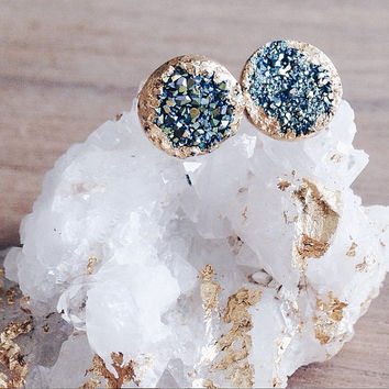 Druzy Stud Earrings, Peacock Blue Druzy, Gold Filled Post Earrings, Druzy Post Earrings
