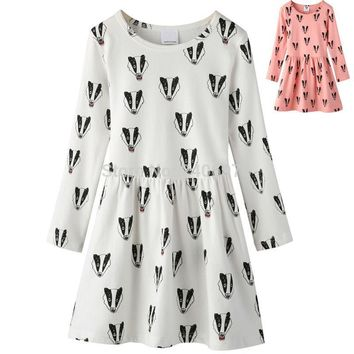 badger fox printed sweater dress long sleeved offwhite bow Child tutu Princess Costume bobo choses new year bunny girl clothing