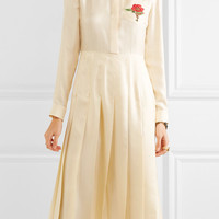 Gucci - Embroidered silk-twill midi dress