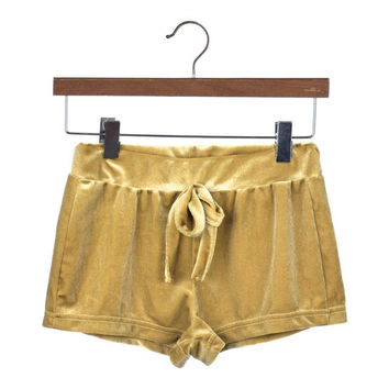Fashion Women Short Femme   Ladies Crushed Velvet Drawstring Slim Skinny Casual Shorts High Waist Short Pants Women#63 GS