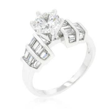 Hadley Tappered Baguette Round Cut Engagment Ring   3.5ct   Cubic Zirconia