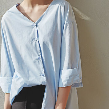 Long V Neck Blouse with Laced Up Back