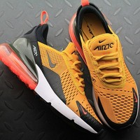 Nike Air Max 270 AH8050 004 University Gold Hot Punch Sport Running Shoes - Best Online Sale