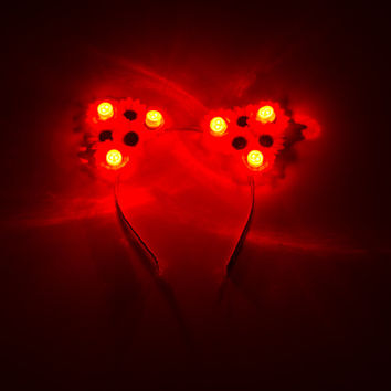 Red LED Cat Ear Headband, Floral Cat Ears, LED Flower Crown, Coachella, Electric Daisy Carnival, Fun Fun Fun Fest, Snow Globe Music Festival