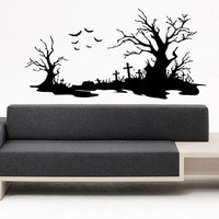 Wall Vinyl Sticker Decal Mural Design Scary Cemetery Landscape Crosses Birds Trees 1253