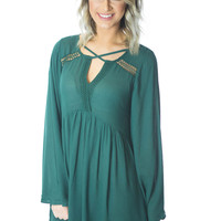 Teal Me About It- Bell Sleeve Dress