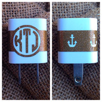 Iphone charger anchor Monogram Decal Monogram Glitter Decal Monogram Gift Monogram sticker Car sticker Car Initials Vinyl Initials sticker