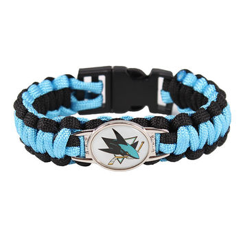 Ice Hockey Braided Bracelet NHL San Jose Sharks Charm Paracord Survival Bracelet Outdoor Camping Bracelet Jewelry Gift