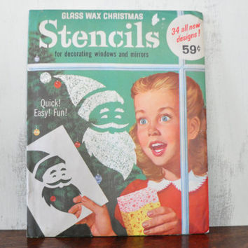 Vintage Christmas Window Stencils, Glass Wax Stencils, NOS