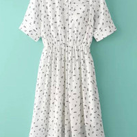 White Turn-down Collar Printed Midi Chiffon Dress