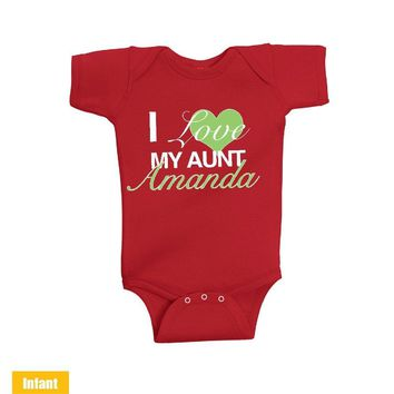 Custom made with Aunt Name - I Love My Aunt - Infant Lap Shoulder Bodysuit - very cute