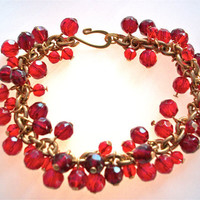Red crystal bracelet gold chain jewelry Valentine by StarJewels