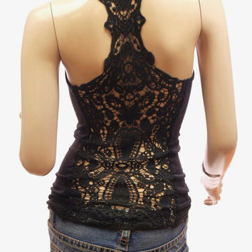 Romantic Summer Black Crochet Lace Back Tank Top. Bohemian Lace Sleeveless Top