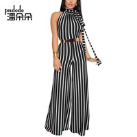 Pndodo 2018 Women Long Stripe Jumpsuit Hanging Neck Backless Sexy Party Jumpsuit Sleeveless Beach Ladies Summer Jumpsuit Romper