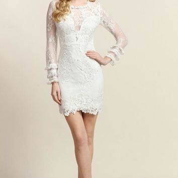Ruffle Tier Detail Long Sleeve Fitted And Mesh Lace Dress