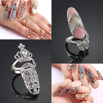 Fashion Women Korean Crystal Rhinestone Bow Crown Nail Art Silver Knuckle Ring Party Jewlery = 1946680004