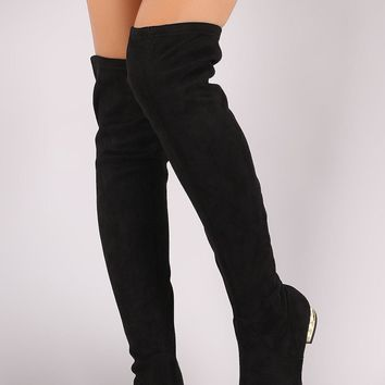 Wild Diva Lounge Stretched Suede Faux Pearl Heeled OTK Boots
