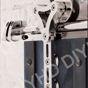 Stainless Steel Sliding Barn Wood Door Interior Glass Door Double Head Hollow-Out Hanger Wheel Barn Track Sliding Kit