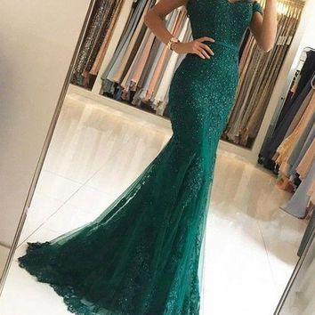 Dark Green Mermaid Evening Dresses 2018 Off The Shoulder Prom Dress Beading Lace Robe Soiree Longue Ever Pretty Party Gowns