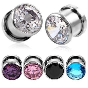 ac DCCKO2Q 2PCS Steel Crystal Zircon Plug Tunnel Earring Plugs Expanders Gauges Screw Flesh Plugs and Tunnels Earring Body Jewelry