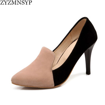 ZYZMNSYP women fashion nubuck thin high heels pumps woman pointed toe shoes womens mixed colors autumn summer shoes ladies shoes