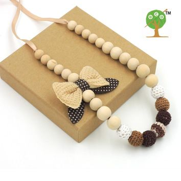 Mommy Organic Teething bead necklace Nursing necklace , Crochet Necklace bow dot necklace brown white NW1602