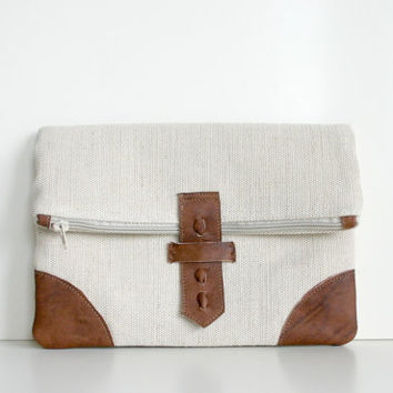 Fold over Clutch Purse Bag Leather Natural Linen Canvas