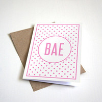 BAE Before Anyone Else Greeting Card - Pink Polka Dot Design - Customizable - 5 x 7