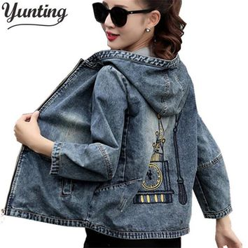 Trendy Plus Size 4XL 5XL 2018 Spring Bomber Jacket Women Embroidered Denim Jacket Bombers Hooded Jaqueta Jeans Women Basic Coats AT_94_13