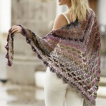 Summer Shawl Lace crochet Shawl white shawl victorian shawl gradient yarn beach shawl country shawl spring shawl fashion Drops Lilith