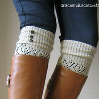 SALE SALE The LouLou Natural Openwork Legwarmers by GraceandLaceCo