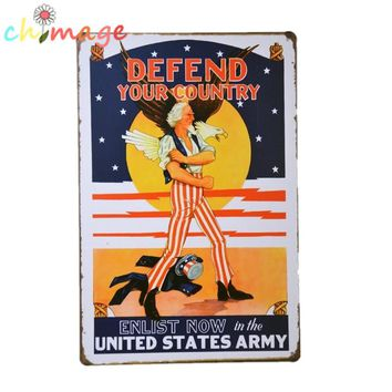 Defend your country enlist now in the UNITED STATES ARMY Vintage Tin Sign