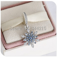 Clear CZ & Blue Crystal Christmas Snowflake Dangle Charms Beads 2015 Winter 925 Sterling Silver Jewelry Fit Pandora Bracelets