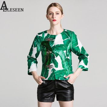 Luxury Women Jackets 2018 New Spring 3/4 Sleeve Fashion Dragonfly Beading Diamonds Banana Leaf Print Squined Famous Jacket