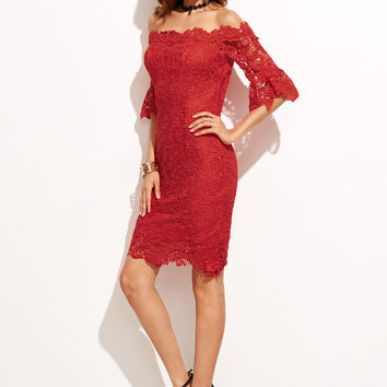 Red Off Shoulder  Scalloped Lace Dress