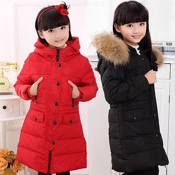 Fashion Girl jackets coat for baby girl Down Parkas long warm Children winter clothing Outerwear Coats duck down  jacket