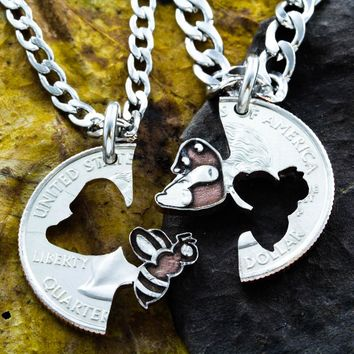 Bee and Panda Bear Best Friends Necklaces, Bumble Bee Jewelry, Bff Gifts, Friendship and Relationship Gift, Hand Cut Coin