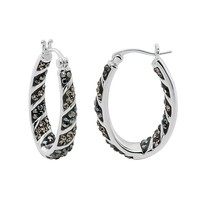 Crystal Radiance Inside-Out Oval Hoop Earrings (Gray/Black/Silver)