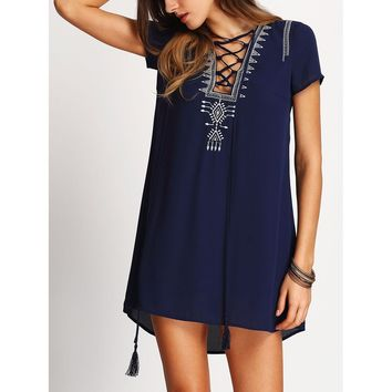 Navy Tasseled Lace Up Embroidered Dress