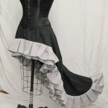 Steampunk hi low skirt black with grey ruffles